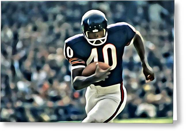 Greeting Card featuring the painting Gale Sayers by Florian Rodarte