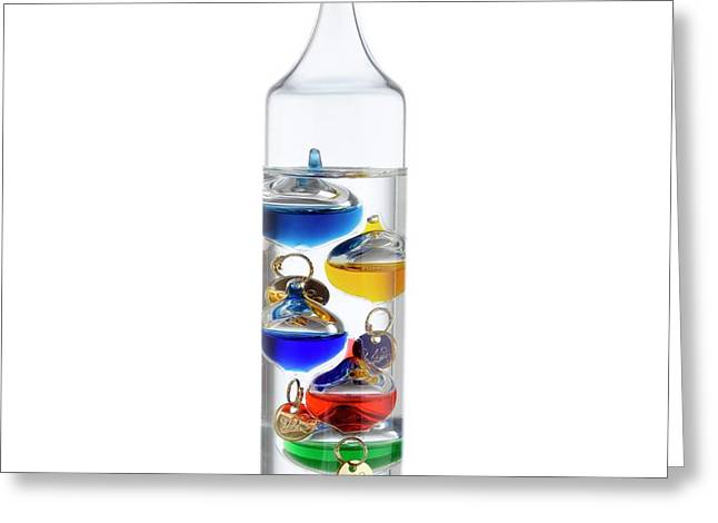 Galileo Thermometer Greeting Card by Science Photo Library