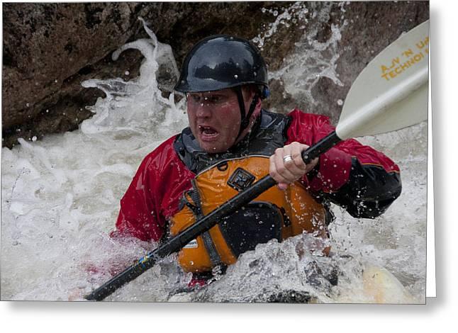 Gallatin Kayaker  Greeting Card by Jason Standiford