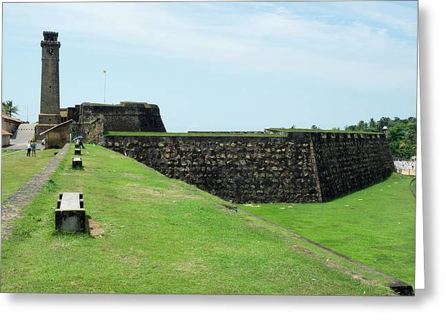 Galle Fort Clock Tower And Rampart Greeting Card by Panoramic Images