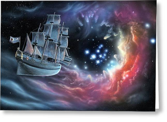 Galleon Amongst The Stars Greeting Card