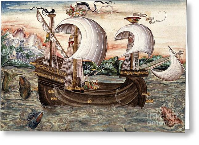 Galleon Sails To Portugal, 16th Century Greeting Card by British Library