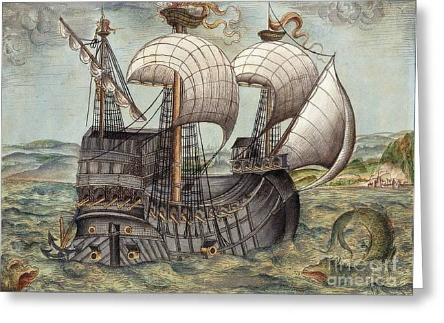 Galleon Sails To Venezuela, 16th Century Greeting Card by British Library