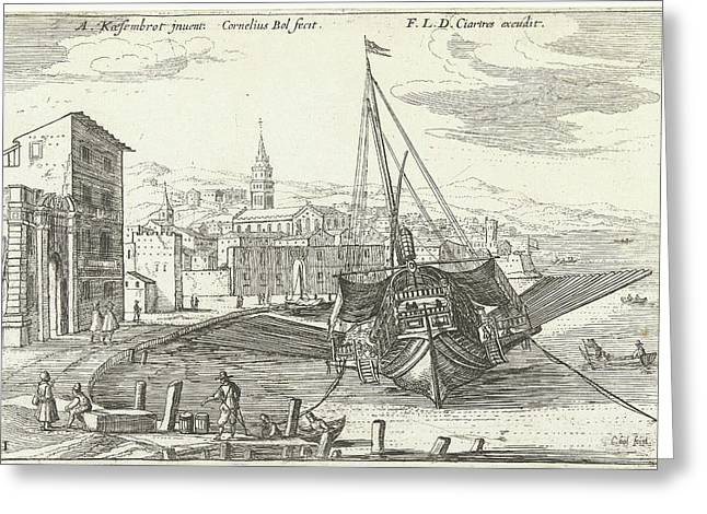 Galley In An Italian Port, Cornelis Bol, Franois Langlois Greeting Card