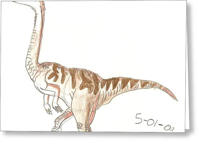 Greeting Card featuring the drawing Gallimimus by Fred Hanna