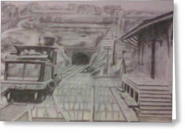 Greeting Card featuring the drawing Gallitzin Tunnel by Thomasina Durkay