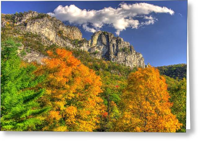 Galloping Cumulus Above Seneca Rocks - Seneca Rocks National Recreation Area Wv Autumn Mid-afternoon Greeting Card by Michael Mazaika