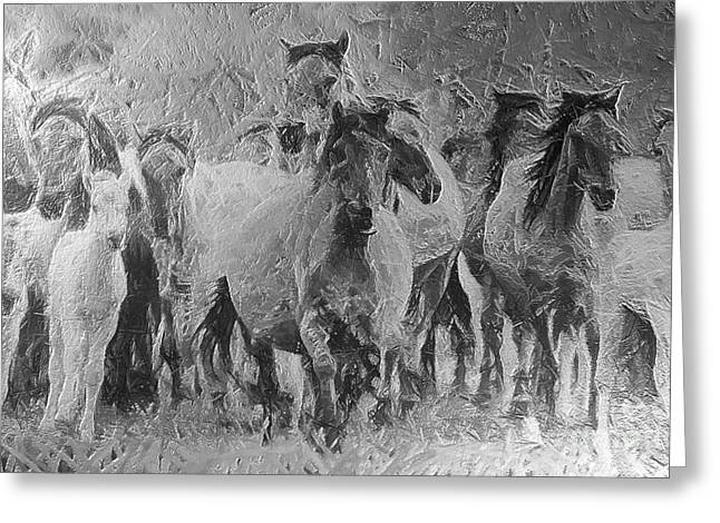 Galloping Horse Team Greeting Card by Odon Czintos