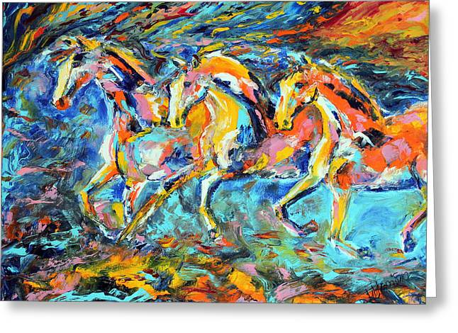 Galloping Sunset Greeting Card
