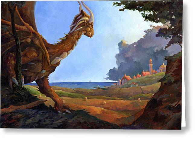 Galversharn The Dragon Looking For Her Eggs Greeting Card by Storn Cook