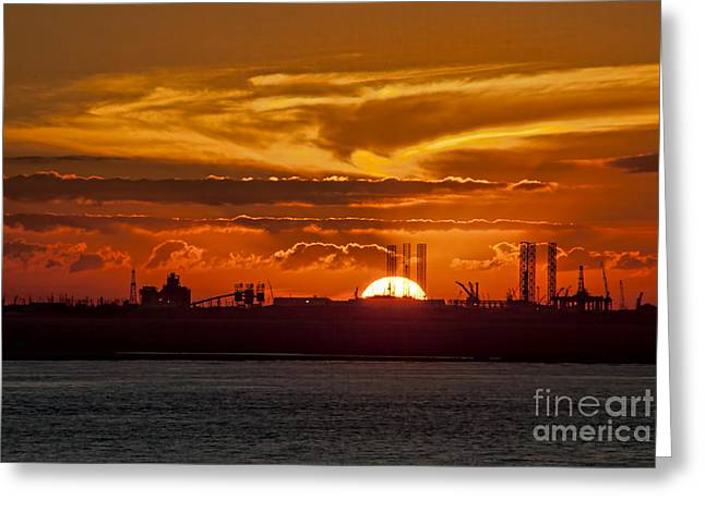 Greeting Card featuring the photograph Galveston At Sunset by Shirley Mangini