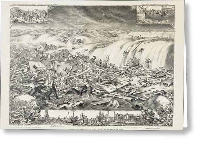 Galveston Hurricane 1900 Greeting Card by Daniel Hagerman