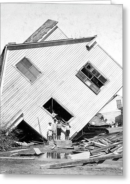Galveston Hurricane Damage Greeting Card by Library Of Congress
