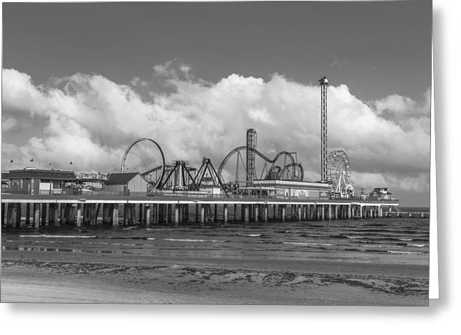 Galveston Pier Black And White  Greeting Card by John McGraw