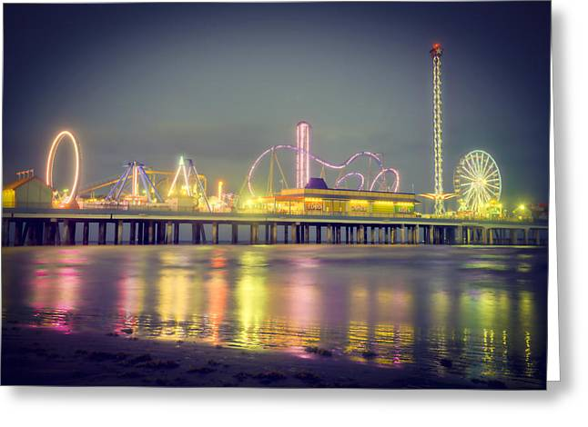 Galveston Pier Colors Greeting Card by Ray Devlin