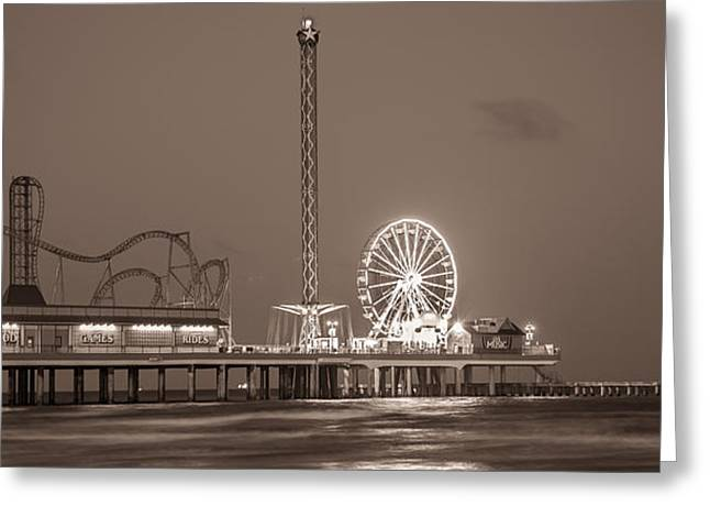Galveston Pier Sepia  Greeting Card by John McGraw