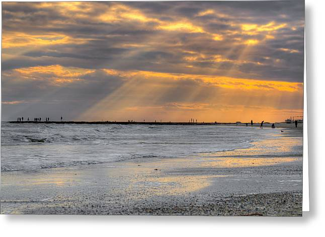 Galveston Rays Of Sunshine Greeting Card by Ray Devlin