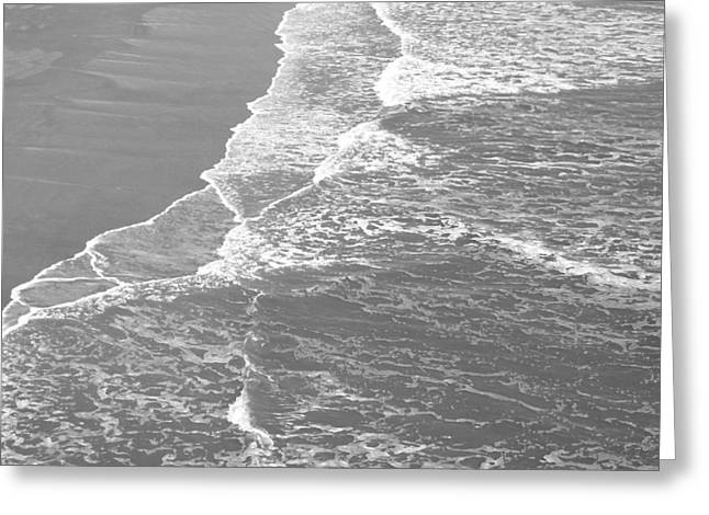 Galveston Tide In Grayscale Greeting Card by Connie Fox