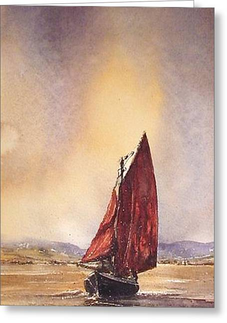 Galway Hooker Reflections Greeting Card by Roland Byrne