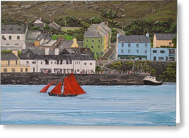 Galway Hooker Sailing Past Roundstone Connemara Ireland Greeting Card