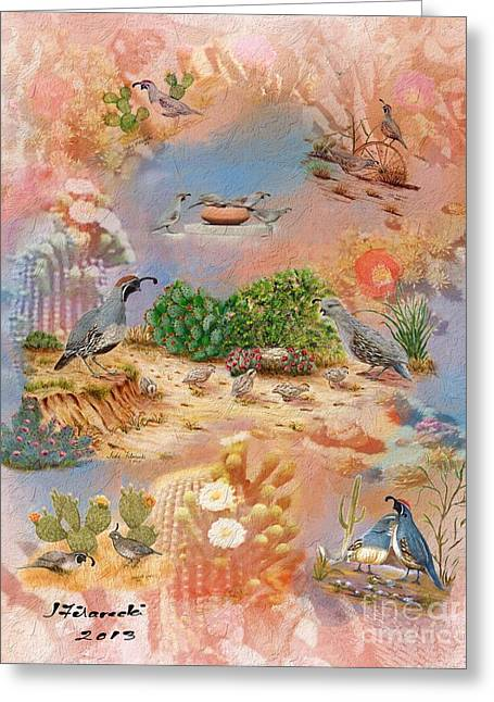 Gambel Quail Collage-southwest Art Greeting Card