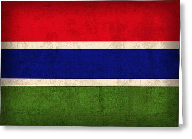 Gambia Flag Vintage Distressed Finish Greeting Card by Design Turnpike