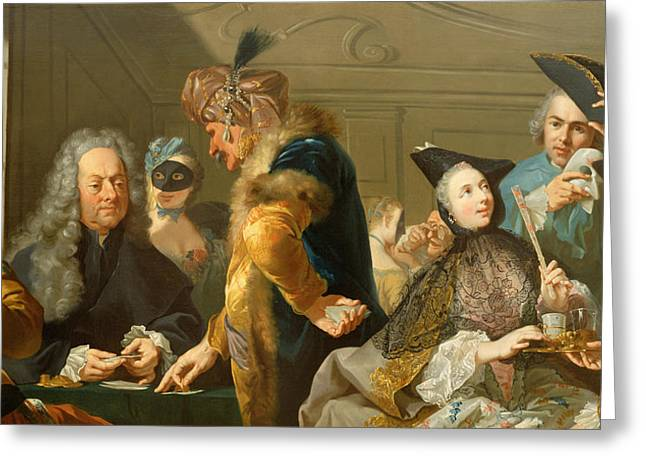 Gamblers In The Foyer Greeting Card by Johann Heinrich Tischbein