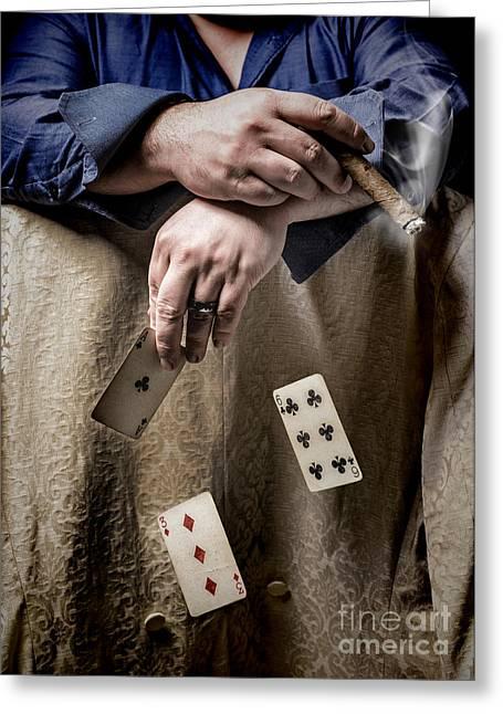 Gambling Man Greeting Card by Amanda Elwell