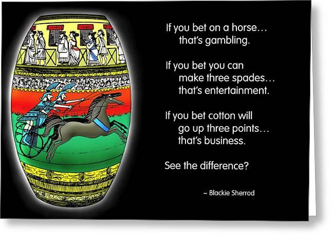 Gambling Greeting Card by Mike Flynn