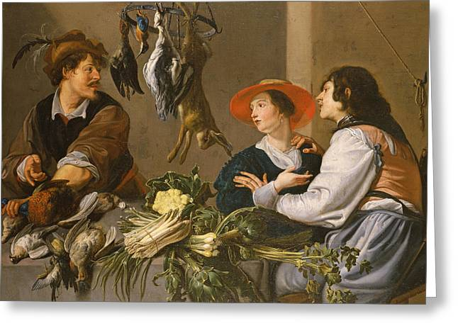 Game And Vegetable Sellers Oil On Canvas Greeting Card by Theodor Rombouts