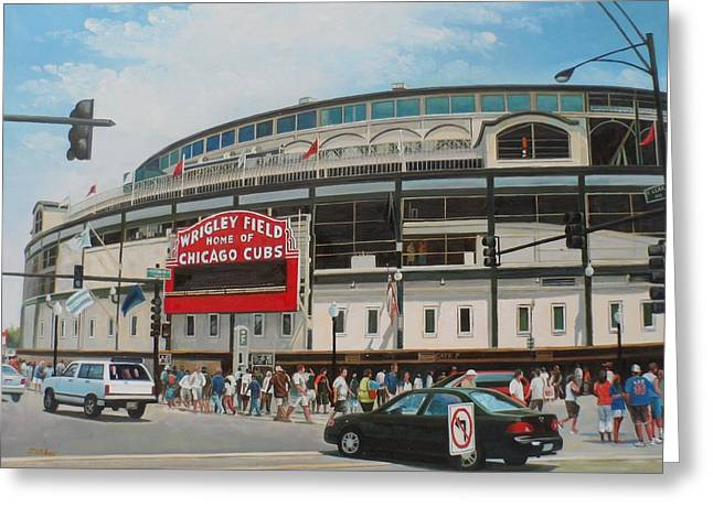Game Day At Wrigley Greeting Card by Steve Wilson