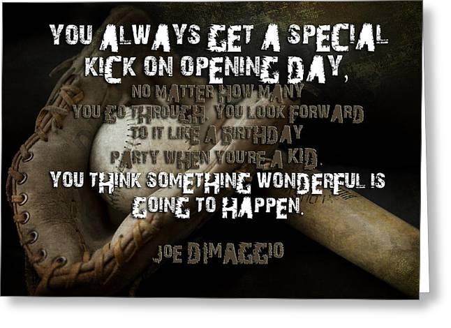 Game Day With Joe Dimaggio Greeting Card by Evie Carrier