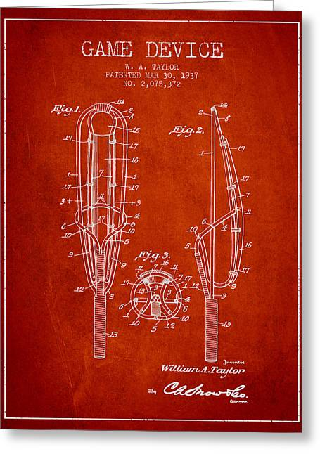 Game Device Patent From 1937- Red Greeting Card by Aged Pixel