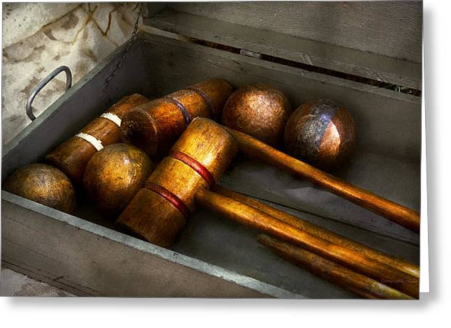 Game - Everyone Loves To Play Croquet   Greeting Card by Mike Savad