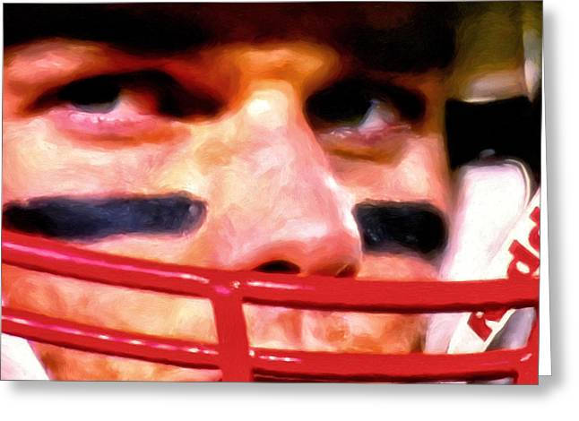 Game Face Greeting Card by Michael Pickett