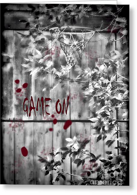 Game On Basketball Black And White Greeting Card