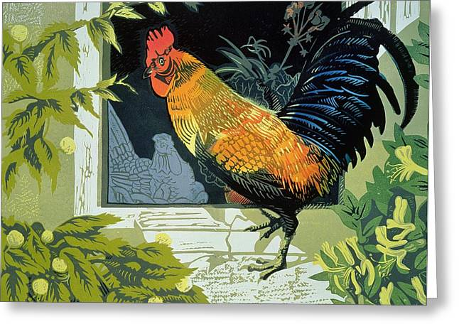 Gamecock And Hen Greeting Card by Carol Walklin