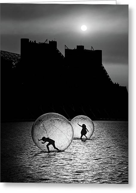Games In A Bubble Greeting Card by Juan Luis Duran