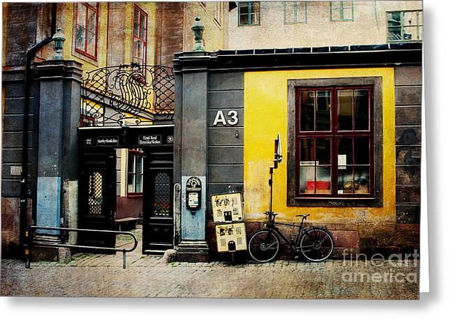 Gamla Stan Street Greeting Card by Joan McCool