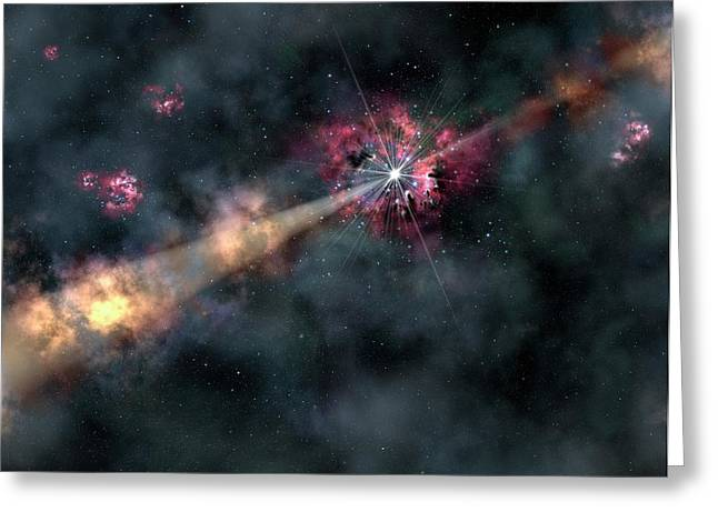Gamma-ray Burst Greeting Card by Gemini Observatory/aura, Artwork By Lynette Cook