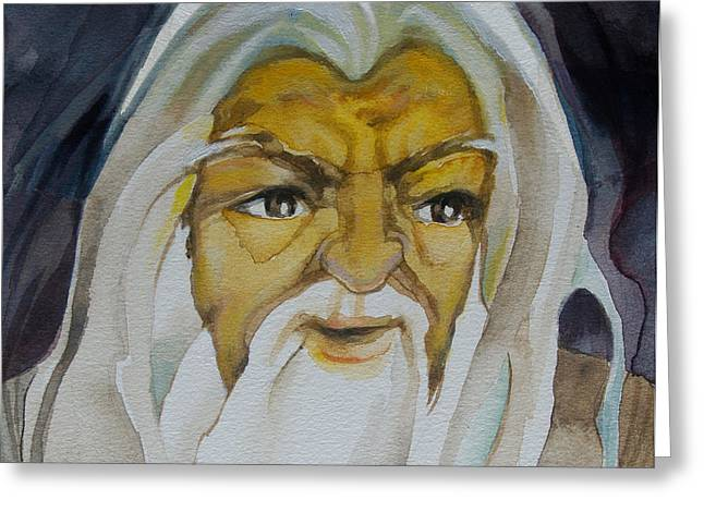 Gandalf Headstudy Greeting Card by Patricia Howitt