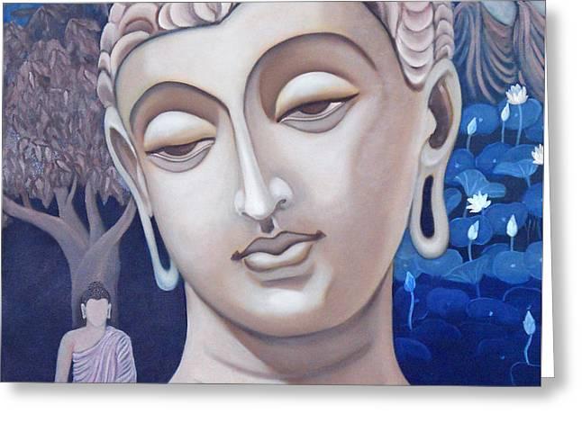 Gandhara Buddha Greeting Card by Vishwajyoti Mohrhoff