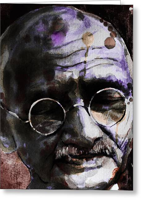 Greeting Card featuring the painting Gandhi by Laur Iduc