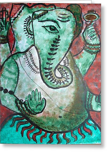 Greeting Card featuring the painting Ganesh 10 by Anand Swaroop Manchiraju