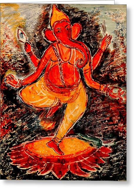 Greeting Card featuring the painting Ganesh- 8 by Anand Swaroop Manchiraju