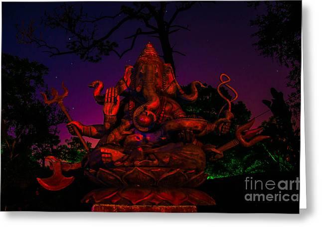 Ganesh At Night Greeting Card