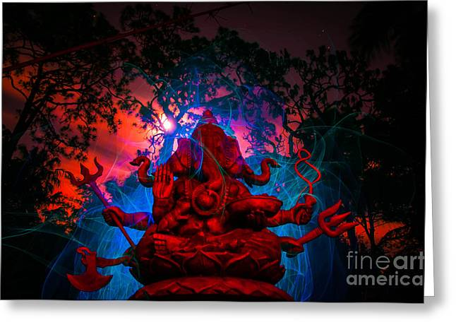 Ganesh Light Painting In The Light Of The Super Moon Greeting Card