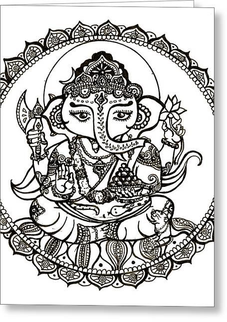 Ganesh On Lotus Flower Greeting Card