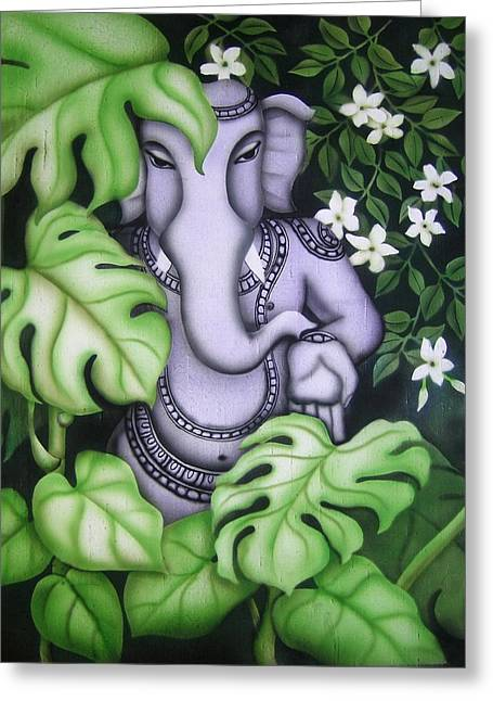 Ganesh With Jasmine Flowers Greeting Card by Vishwajyoti Mohrhoff