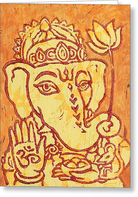 Ganesha Gold And Maroon Greeting Card by Jennifer Mazzucco